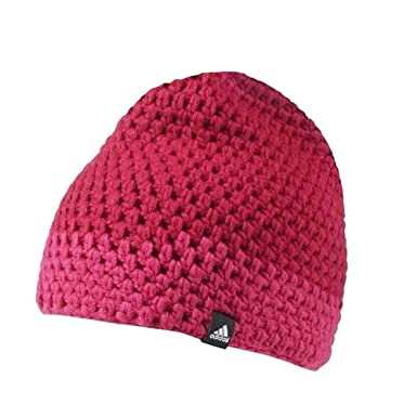 adidas Performance Women s Crochet Chunky Knit Beanie Hat - Pink - Small 40eb345171