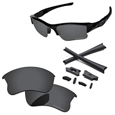 cf71e282fe PapaViva Lenses Replacement   Rubber Kits for Oakley Flak Jacket XLJ Black  Grey - Polarized