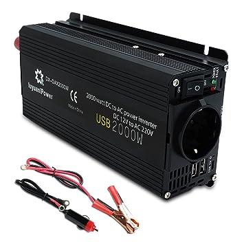 Yinleader - Inversor de Corriente 800W Pico 2000W DC 12V a 220V AC Salida, Dual Puertos USB 5V/2.4A para Coche, Caravana, Barco, cámping