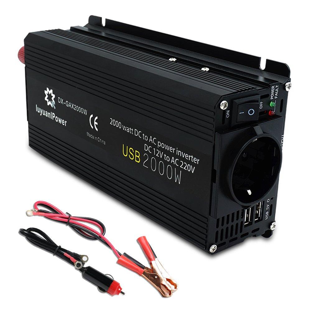Yinleader - Inversor de Corriente 800W Pico 2000W DC 12V a 220V AC Salida, Dual