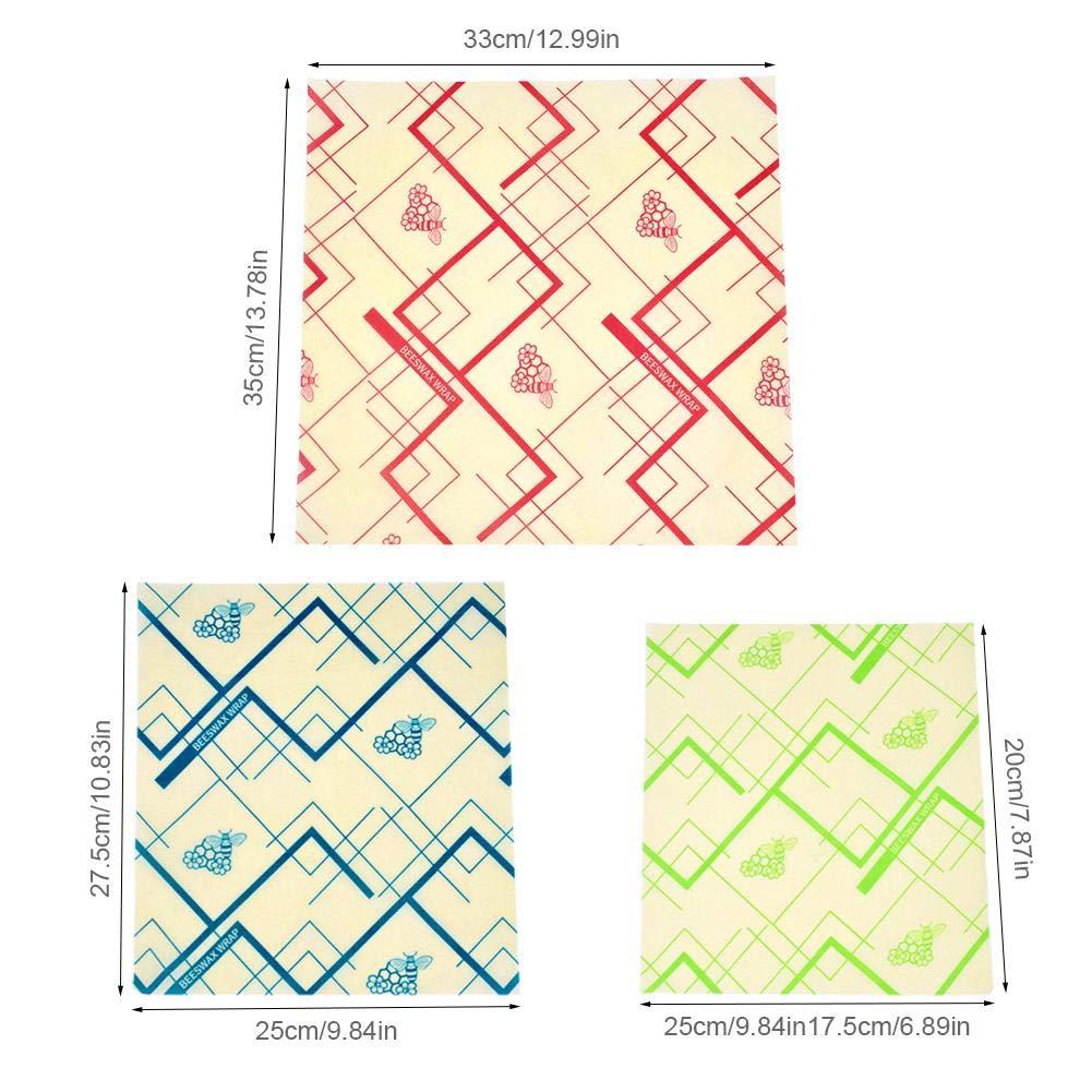 Papier demballage demballage de Cire dabeille Papier 3 Coton Organique r/éutilisable /écologique z/éro z/éro Toxique pour Les Sacs /à Sandwich en Papier Film Couvercles de Nourriture en Silicone