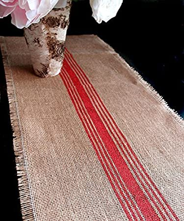 AK Trading 12.5u0026quot; Inches X 108 Inches Burlap Table Runner With Stripes  (Red