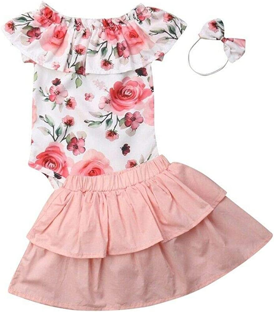 Newborn Baby Girl Clothes Outfits Toddler Girl Ruffle Bodysuit Romper Floral Tutu Skirt with Hat 3Pcs Set