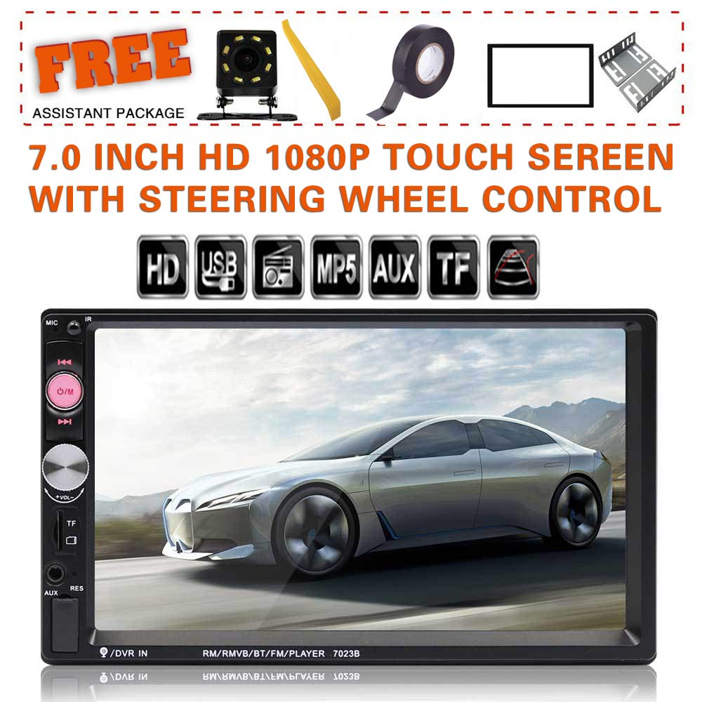 Double Din Car Stereo in-Dash BT Touch Screen 7 inch with Rear-View Camera,Video MP5/4/3 Player, Radio FM, Car Stereo Receiver, Support Steering Wheel Remote Control, Mirror Link,SARCCH by SARCCH