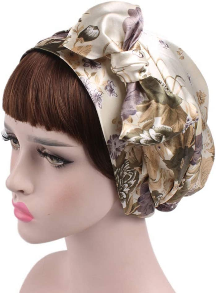 Sungpunet 58cm 1pc Douche Bonnet Femmes Soie de Sommeil la Nuit Capuche r/églable Dames Chapeau Satin Chapeau Soin des Cheveux Turban Doux Accessoires