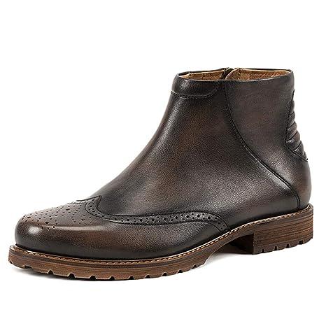 MERRYHE Brogues Hechos A Mano para Hombre Chelsea Boots Botín De Cremallera Lateral De Cuero Genuino