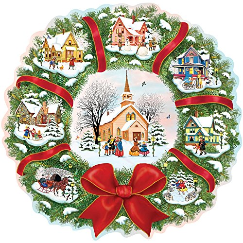 Shaped Puzzle - The Village Wreath, Christmas 300 pc Jigsaw