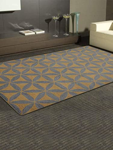 Rugsotic Carpets Hand Tufted Wool 9'x12' Area Rug Geometric Gold Blue K00723