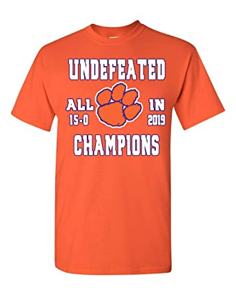 3356befe33ff Amazon.com: Clemson Tigers 2019 National College Football Champions  Undefeated T Shirt: Clothing