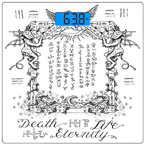 Precision Digital Body Weight Scale Occult Ultra Slim Tempered Glass Bathroom Scale Accurate Weight Measurements,Gothic Medieval Magic and Spell Symbols Eternal Life Ritual Chart Themed Artwork,White