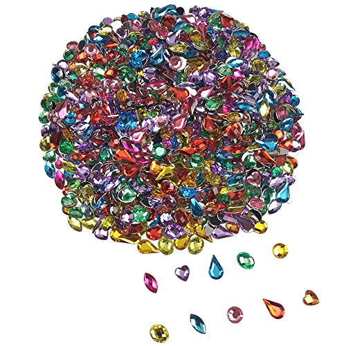 1000PCS Acrylic Flatback Rhinestones Gems Craft Gemstone Embellishments Colorful Jewels for DIY Craft Wedding Birthday Decoration Favor by SkyCooool