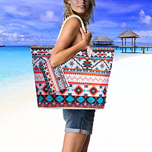 Girls Bag Vordas Ladies and Beach Zip Ladies Rope Large Bag and Holiday Beach with Holiday for Handle xSwat1