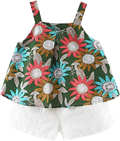 Toddler Baby Girl Clothes Outfits Short Sleeve Tops with Floral Pants Girl/'s Clothing Set