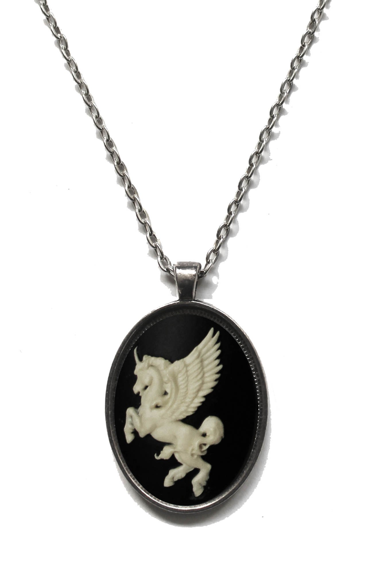 Victorian Vault Unicorn Horse Cameo Steampunk Gothic Pendant Necklace on Chain