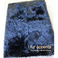 Fur Accents Plush Faux Fur Area Rug Black Shaggy Sheepskin Rectangle / Bearskin / 5x7