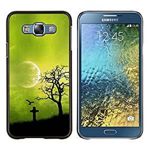 EJOOY---Cubierta de la caja de protección para la piel dura ** Samsung Galaxy E7 E700 ** --Noche Green Moon