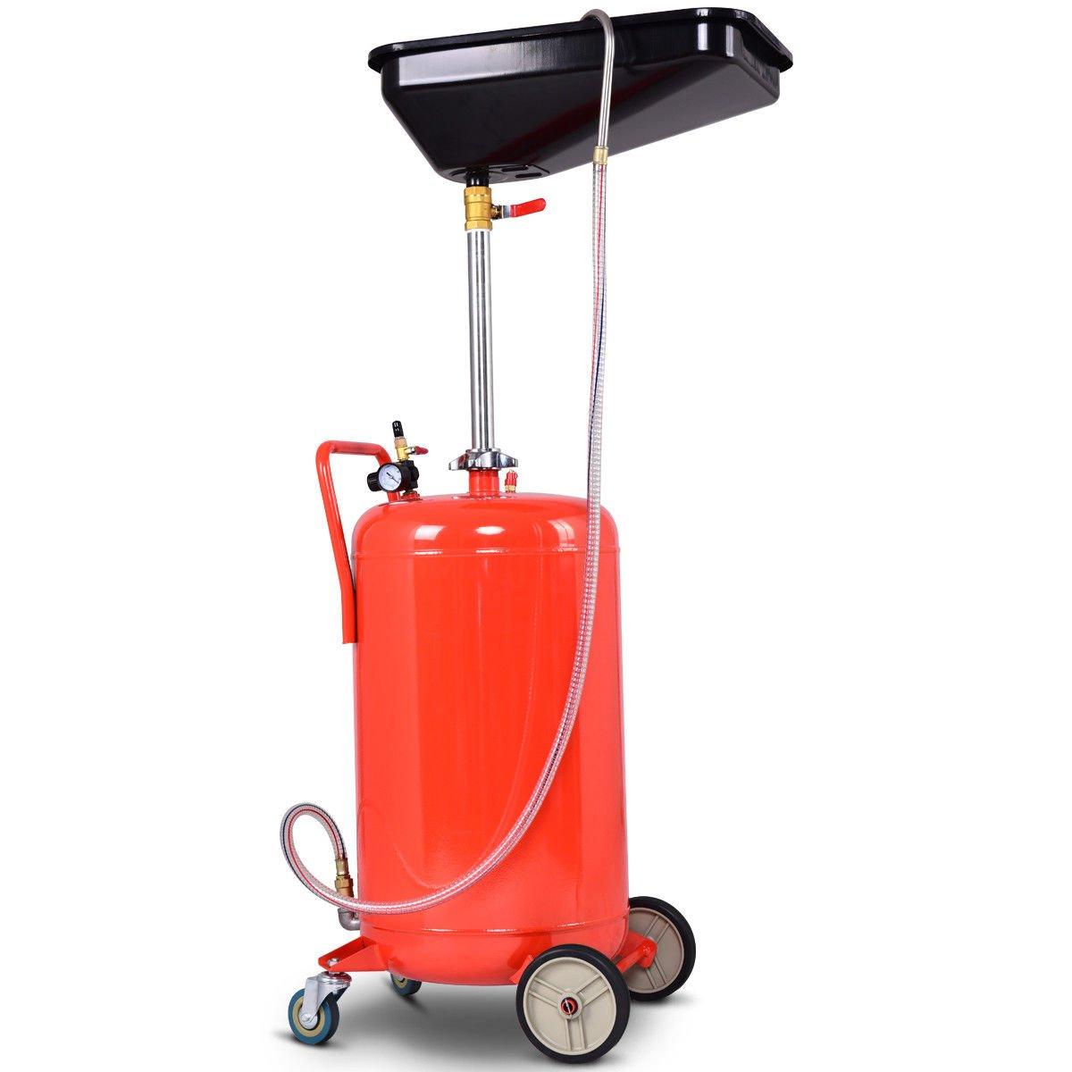 64'' Swivel Wheels Portable Waste Oil Drain Tank Air Operated Triangular Shape Pan18 Gallon w/Adjustable Height