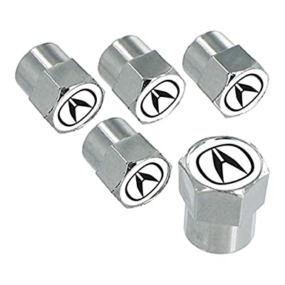 License Frame Inc. Logo Tire Stem Valve Caps Set for Acura (Chrome): Automotive