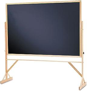 Quartet Chalkboard, Reversible, 4' x 6', Easel Style Black Melamine Chalkboard, Hardwood Frame (WTR406-810)