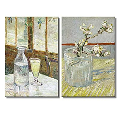 Sprig of Flowering Almond in a Glass Cafe Table with Absinthe by Vincent Van Gogh Oil Painting Reproduction in Set of Panels