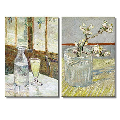 Sprig of Flowering Almond in a Glass Cafe Table With Absinthe by Vincent Van Gogh Oil Painting Reproduction in Set of 2 x 2 Panels
