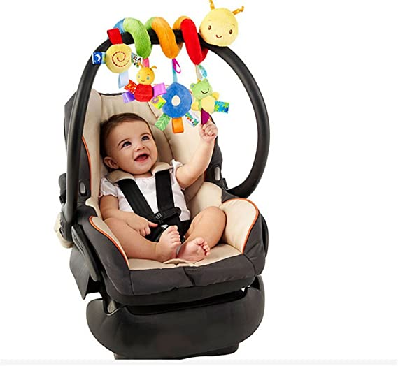 Bed Hanging Toys Cart Seat Pram Toy with Ringing Bell Uooker Kid Baby Spiral Activity Hanging Toys Car Seat Toy Stroller toys
