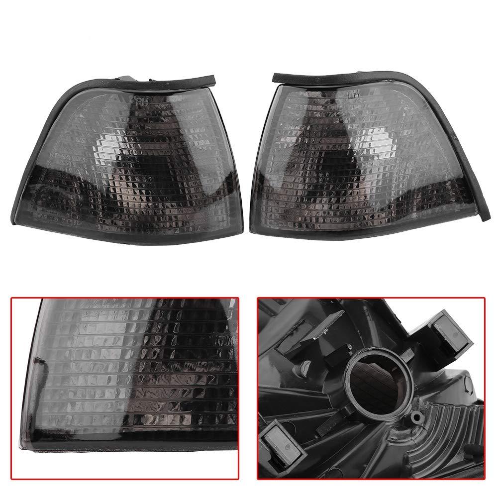 luz de advertencia de esquina Shell para 3 Series 318i 325i E36 4DR 92-98 Qii lu Par de cubierta de luz de esquina de humo