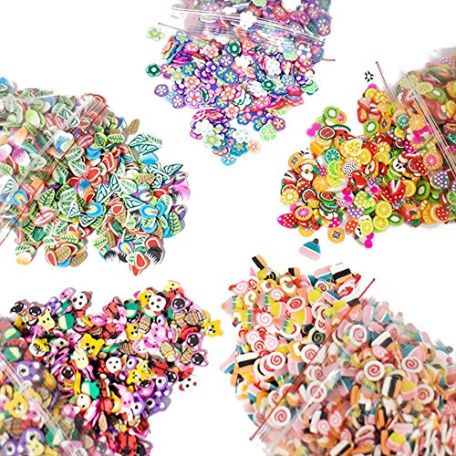5000 Pcs 3D Polymer Fimo Slices DIY Nail Art Slime Supplies Charms Slime Making Kit Decoration Arts Crafts(Fruit,Rose,Cake,Animal,Feather Pattern)-1000Pcs/Pack