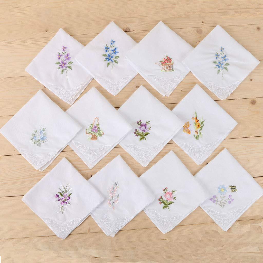 Aawsome 3pcs//set donne base bianco quadrato fazzoletto floreale ricamato tasca Hanky farfalla pizzo cotone bavaglini Portable asciugamano tovagliolo casuale Red