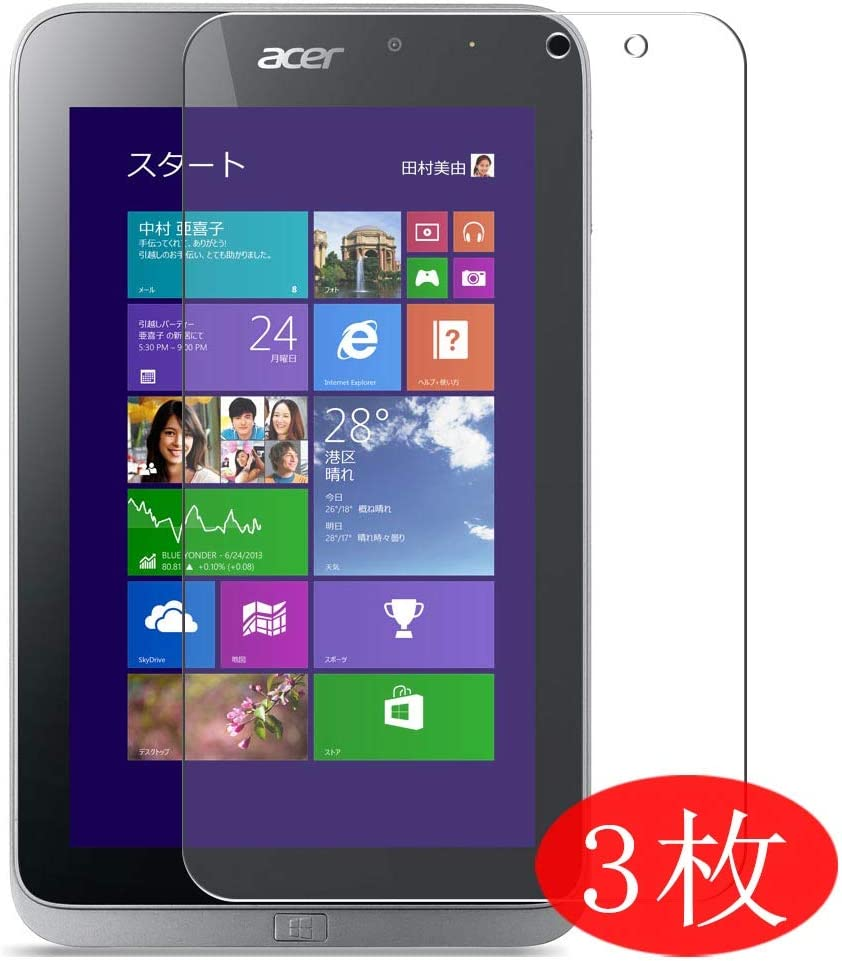 """【3 Pack】 Synvy Screen Protector for Acer ICONIA Table W4-820P 8"""" TPU Flexible HD Film Protective Protectors [Not Tempered Glass]"""