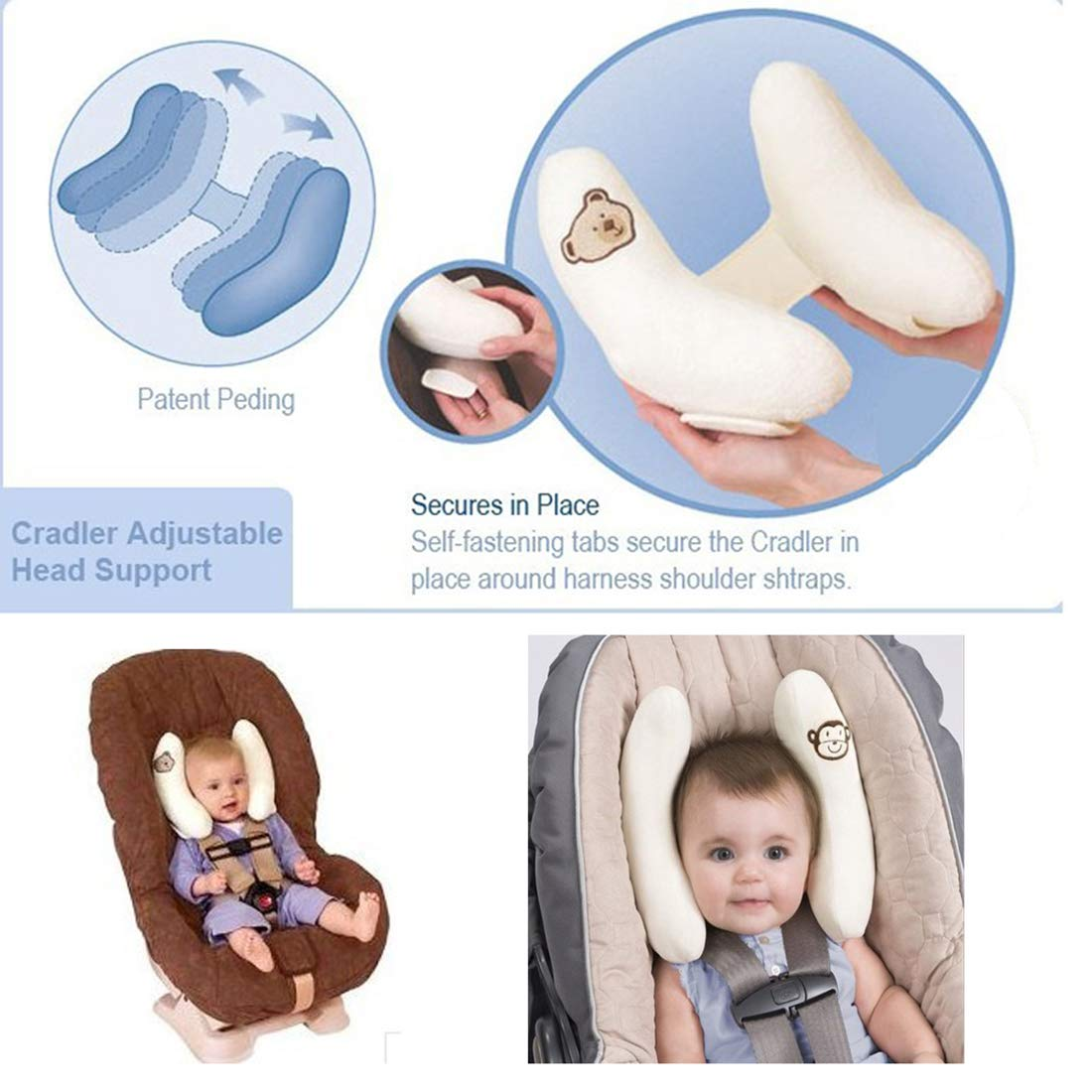 White DBS Adjustable Baby Car Seat Stroller Safety Pillow Soft Head Neck Support Banana U-shape Children Travel Headrest Head Protection Pillow