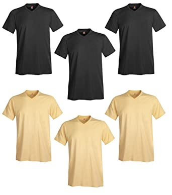 cce043cd Hanes Men's 6-Pack V-Neck T-Shirt at Amazon Men's Clothing store: