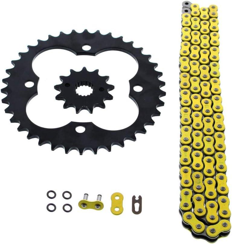 Fits Honda 400EX TRX400EX 520-94 Yellow O Ring Chain /& Sprocket Black 13//38