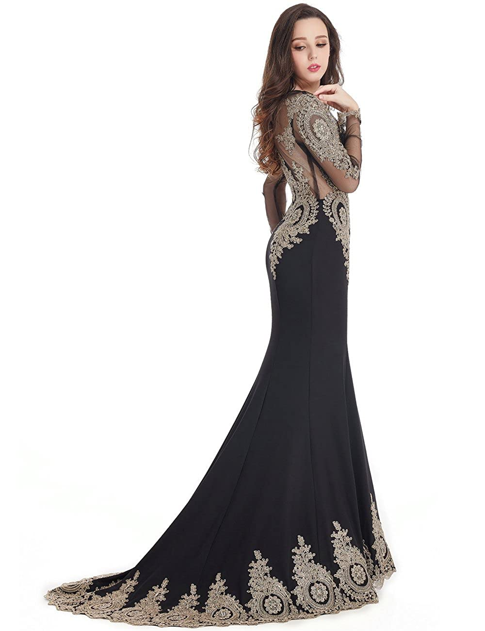 55a8c0ed74dc Amazon.com: MisShow Crystals Beaded Lace Mermaid Evening Dress for Women  Formal: Clothing