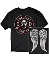 Walking Dead Daryl Dixon Wings and Walker Patch Two Sides Adult Black T-shirt