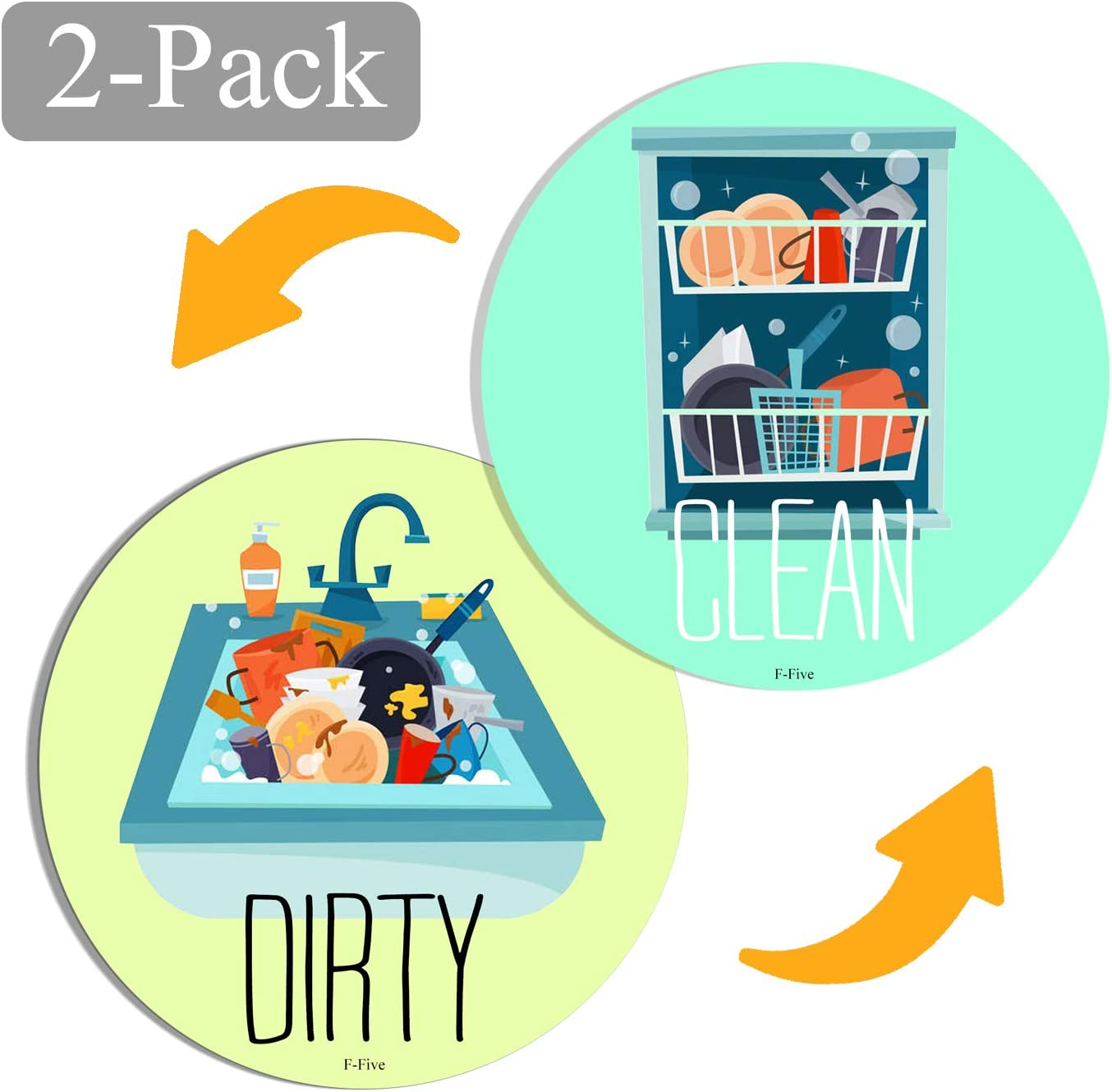 Newest Design 2-Pack Dishwasher Magnet Clean Dirty Sign Indicator,Universal Double Sided Kitchen DishWasher Magnet, Bonus Magnetic Plate For Kitchen Organization By PuFivewr! (Green dishwasher)