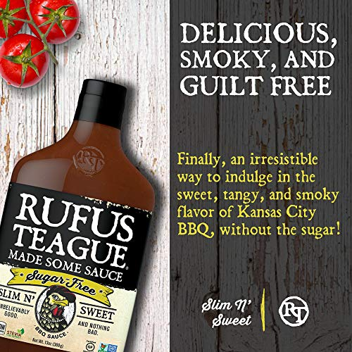 Rufus Teague: Sugar-Free BBQ Sauce - Premium BBQ Sauce - Natural Ingredients - Award Winning Flavors - Thick & Rich Sauce - Made with Stevia - Keto, Gluten-Free, Kosher, & Non-GMO - 2pk