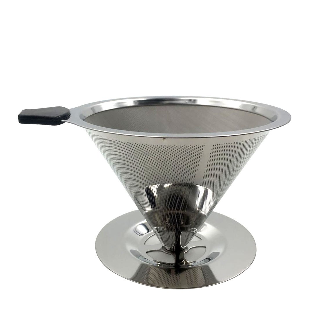 Stainless Steel Pour Over Coffee Dripper by Haotrend Permanent Reusable Paperless (304) Stainless Steel Cone Coffee Filter with Cup Stand - for Making 1-4 Cups