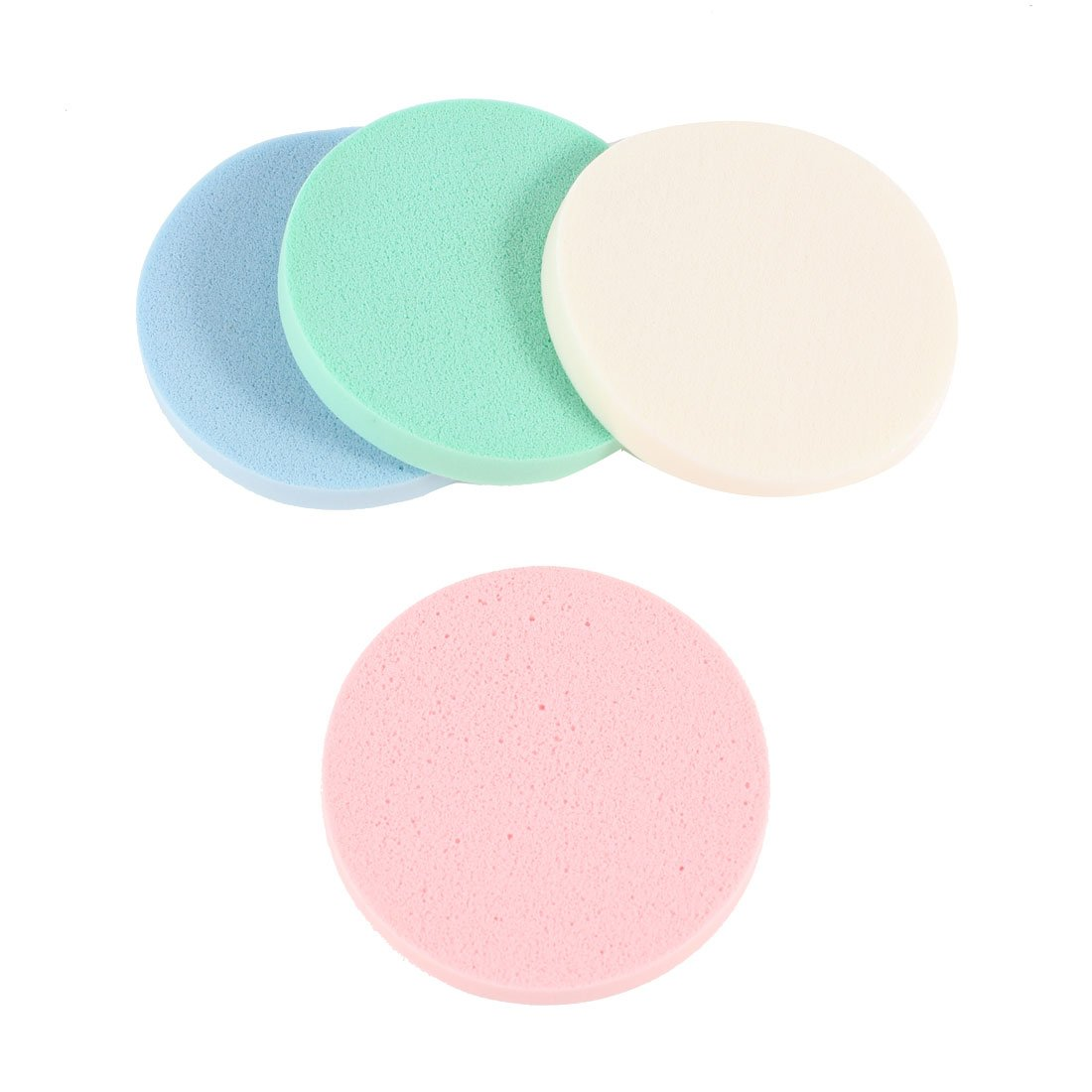 uxcell® 4 in 1 White Pink Blue Round Sponge Cosmetic Face Cleaning Powder Puffs a13081400ux0063