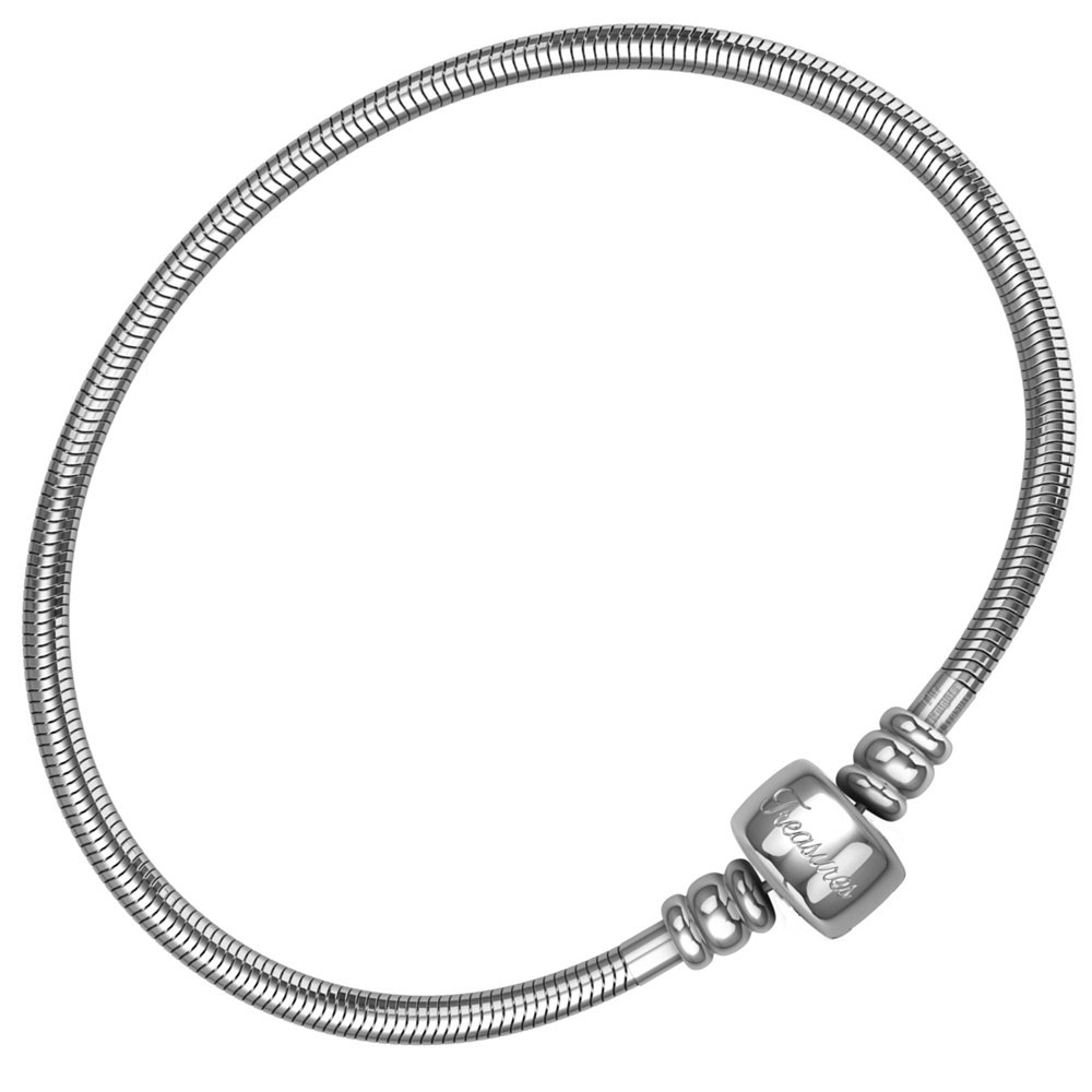European Charm Bracelet For Women and Girls Bead Charms, Stainless Steel Snake Chain, Barrel Clasp 16.5 cm The Knights Treasure SSCBB-65