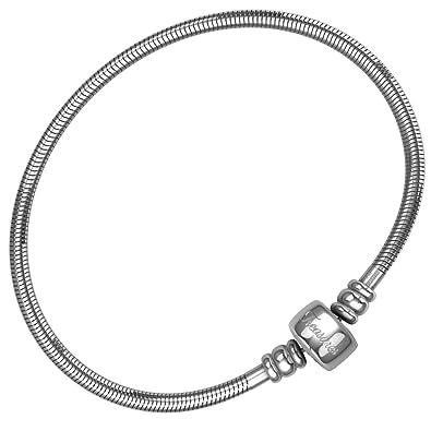 fff0e083d European Charm Bracelet For Women and Girls Bead Charms, Stainless Steel  Snake Chain, Barrel