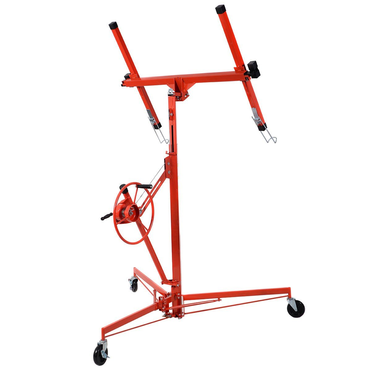 11' Drywall Lift Panel Hoist Dry Wall Jack Rolling Caster Lifter Lockable - By Choice Products