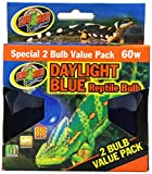 Zoo Med 2-Pack Daylight Blue Reptile Bulb, 60-watt