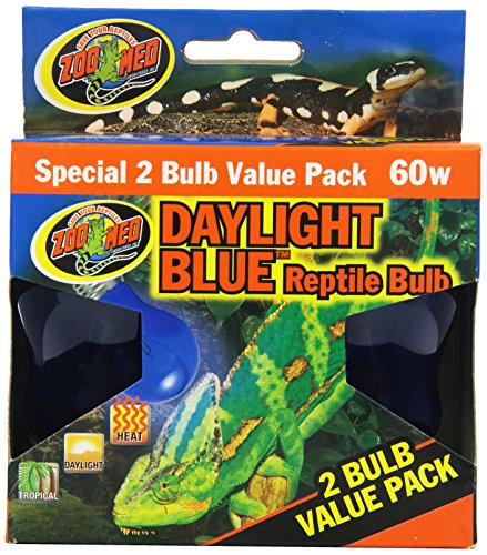 Zoo Med 2-Pack Daylight Blue Reptile Bulb, 60-watt (Reptile Light Bulbs)