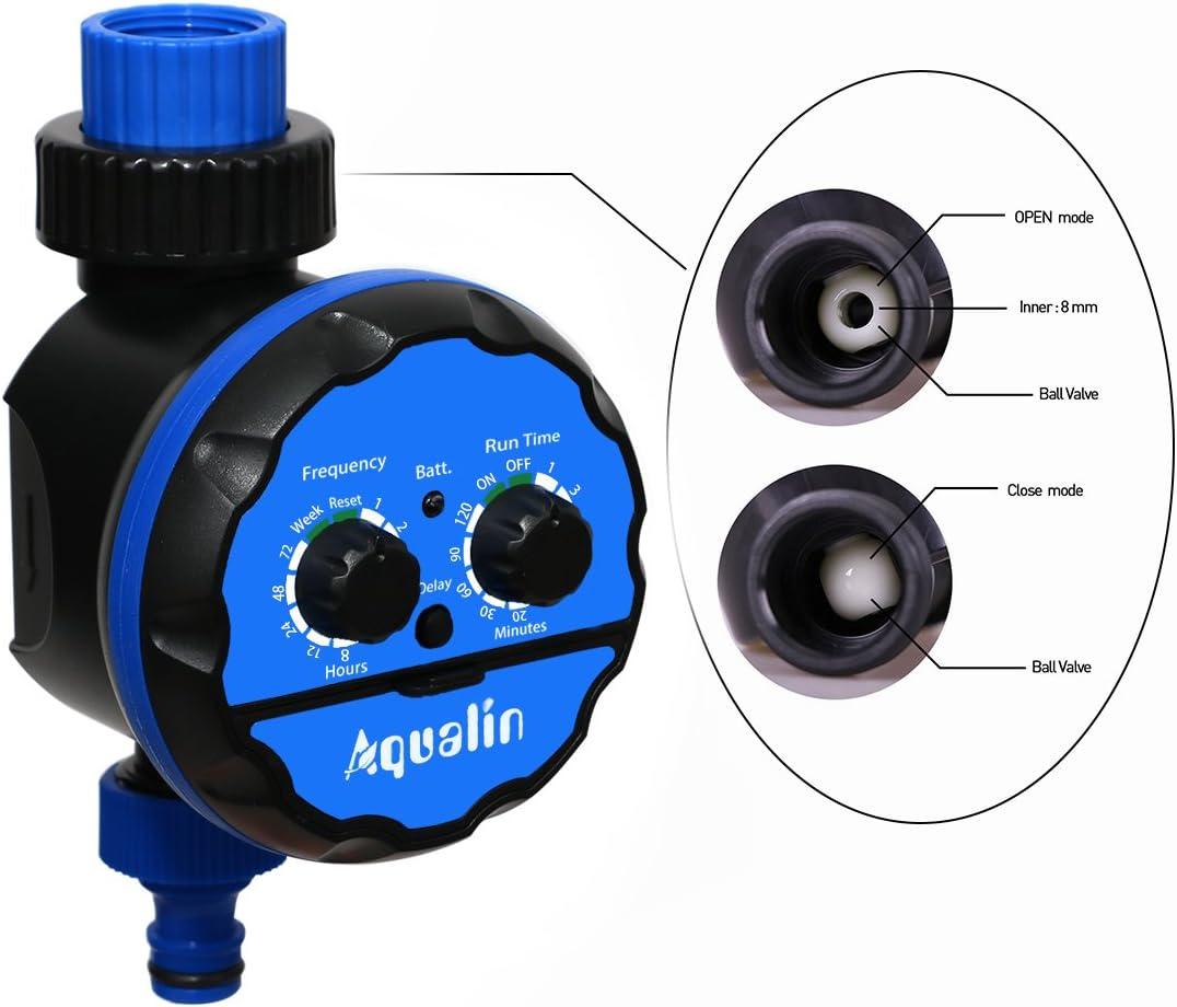 Aqualin Kugelhahn Bew/ässerungsuhr Automatische Elektronische Bew/ässerungscomputer Bew/ässerungssystem Wasserzeitschaltuhr f/ür Garten Hof Farbe Blau