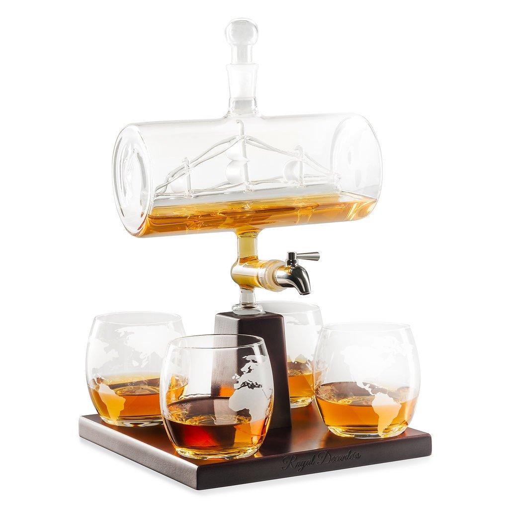 Sailing Ship Whiskey Decanter - Makes a Great Gift! Stainless Steel Spigot Liquor Dispenser - 4 Etched World Map Glasses - for Brandy Tequila Bourbon Scotch Rum -Alcohol Related Gifts for Dad (1000ML)