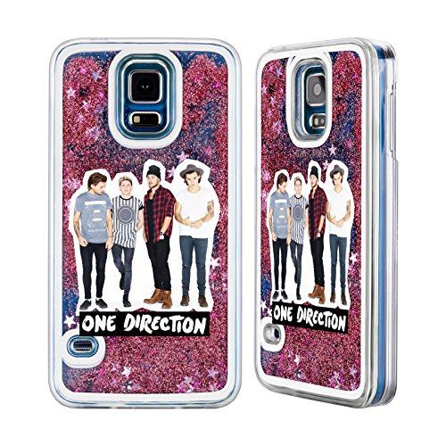 Official One Direction 1D Group 1 Group Photo Pink Liquid Glitter Case For Samsung Galaxy S5 / S5 Neo (One Direction S5 Cover compare prices)