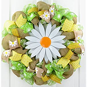 Daisy Spring Flower Wreath | Summer Everyday Deco Mesh Door Wreath | Burlap Yellow White Green 114