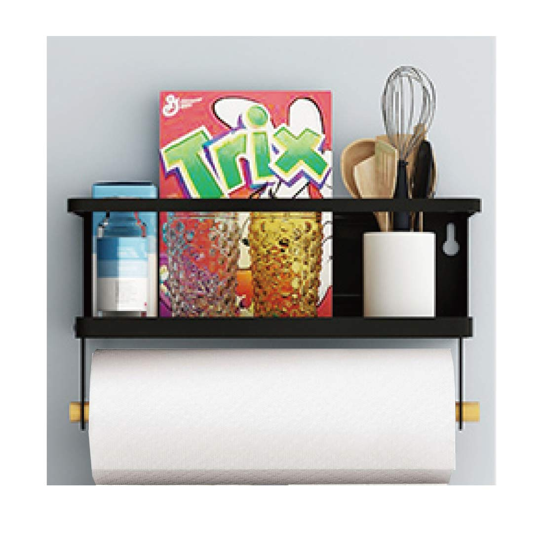 Refrigerator Spice Rack Organizer Single Tier Magnetic Fridge Spice Storage with Paper Towel Holder (BLACK)