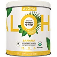 ALOHA Organic Banana Plant Based Protein Powder, 19.5 oz, 15 Servings, Vegan, Gluten Free, Non-GMO, Stevia Free, Soy Free, Dairy Free